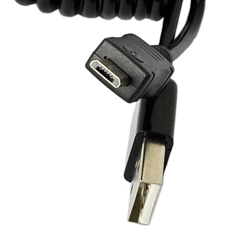 Sunweb Spiral Coiled USB 2.0 A Male To Micro USB B 5Pin Cable Smart Phone 90CM (Black)