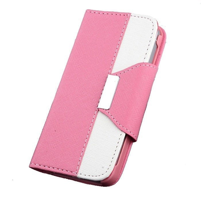 Supercart PU Leather Wallet Flip Cover with Card Slot for Apple iPhone5 5G 5S (Pink) (Intl)