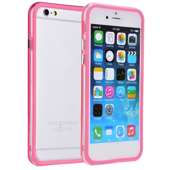 Supercart TPU Silicone Transparent Clear Protective Border Frame Case for Apple iPhone 6 (Pink) (Intl)