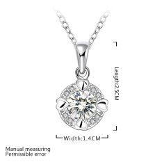 Supercart Wedding Accessories Chain Necklace Jewelry Round Shape Pendant Rhinestones (Silver) (Intl)