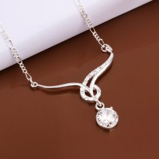 Supercart Wedding Accessories Chain Necklace Sapphire Jewelry Pendant Rhinestones Crystal Chain (Blue) (Intl)