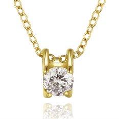 Supercart Wedding Accessories Sterling Silver Jewelry 18K Real Gold Plated Necklace Pendants (Silver) (Intl)