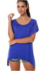 SuperCart Women's Fashion Casual Irregular Solid T-Shirt Dark Blue
