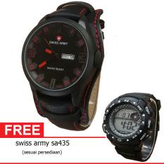 Swiss Army BOGOF H110D48SA4119MHTMM Wing's Date Jam Tangan Pria Leather Strap (Hitam) + Gratis Swiss Army SA435