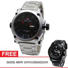 Swiss Army BOGOF H135D48SA3517MSLM Daydate Elegant Jam Tangan Pria (Silver) + Gratis Swiss Army D47H100SA0201M