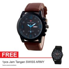 Swiss Army BOGOF Jam Tangan Pria - Kulit - Hitam - SA 7169C BRW BLUE + Gratis Jam Tangan Swiss Army (One Size)