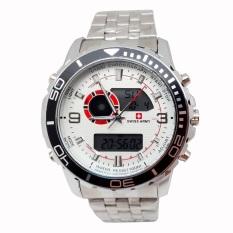 Swiss Army Digital Combo - Jam Tangan Pria - Silver Stainless - Dial Putih - SA 1521 Sa