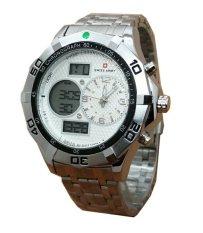 Swiss Army Dual Time SA1135DC - Jam Tangan Pria - Dual Time - Full Stainless - Silver