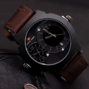 Swiss Army Jam Tangan Pria Dual Time - Leather Strap - SA70104AD