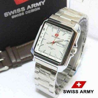Swiss Army - Jam Tangan Pria - Hitam - Strap Stainless 13787787 Silver