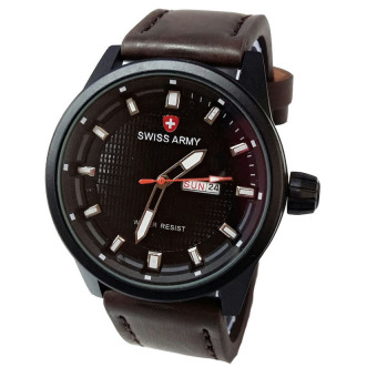Swiss Army Jam Tangan Pria - Leather Strap - Dark Brown - SA 1906 DB