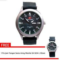 Swiss Army- Jam Tangan Pria - SA 5034 Bezel Hitam - Kanvas - Tanggal Hari + Gratis Jam Tangan Swiss Army