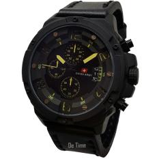 Swiss Army SA135-C Jam Tangan Pria Strap Leather Hitam Lis Kuning