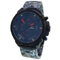 Swiss Army SA1359 Chronograph Jam Tangan Pria Stainless Steel Hitam Lis Merah