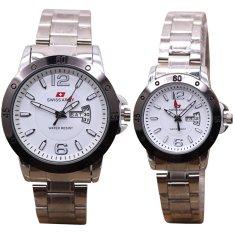 Swiss Army TA0059 TH Jam Tangan Couple Stainless Steel Silver Putih