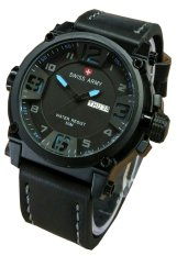 Swiss Army Watch Jam Tangan Pria Hitam Biru Tali Kulit SA005