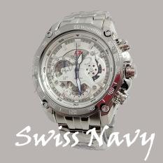 Swiss Navy - SN6457 - Jam Tangan Pria Cronograph - Strap Stainless Steel - Silver