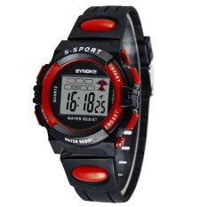 SYNOKE Multifunctional Digital Water Resistant LED Wristwatch Children Student Watch Black And Red (Intl)