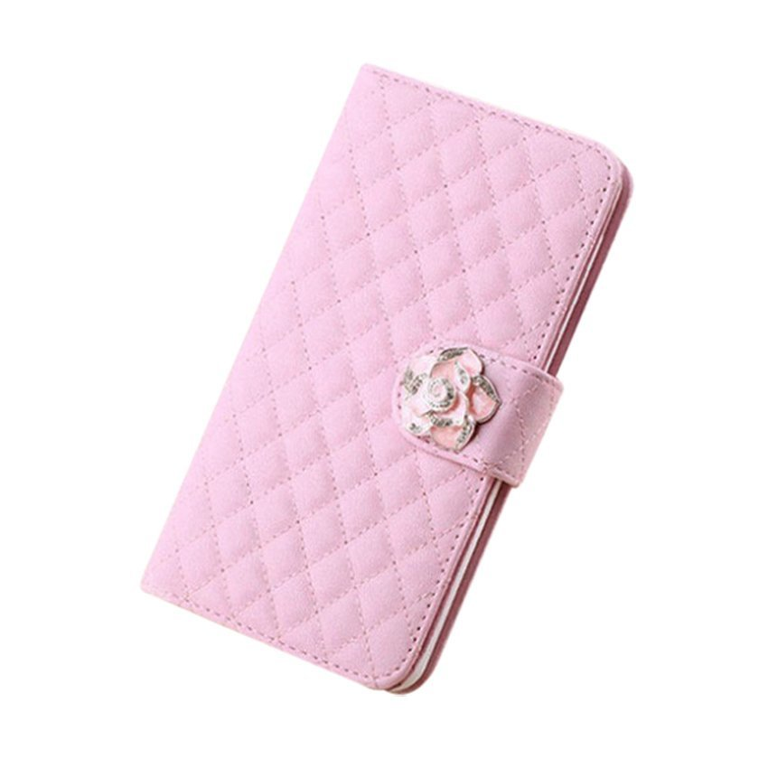 Synthetic Leather Luxury Grid Stand Wallet Flip Phone Cover for Apple iPhone 5 5S (Pink) (Intl)