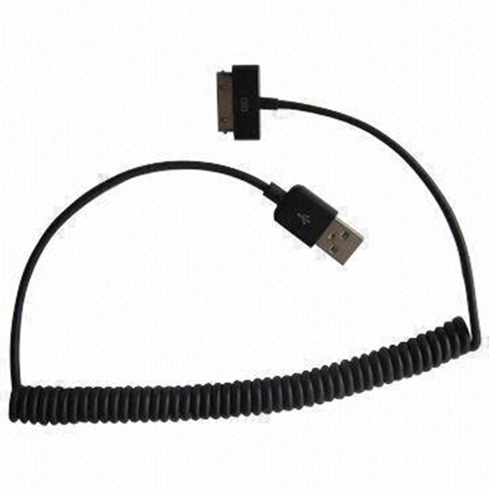 Taff Spring Charging SYNC Data Cable for iPhone 4/4s 1m - Hitam