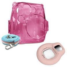Takashi Pink Crystal Protective Case + Pink Selfie Close-up Lens For Fujifilm Instax Mini 8 Instant Camera - Intl
