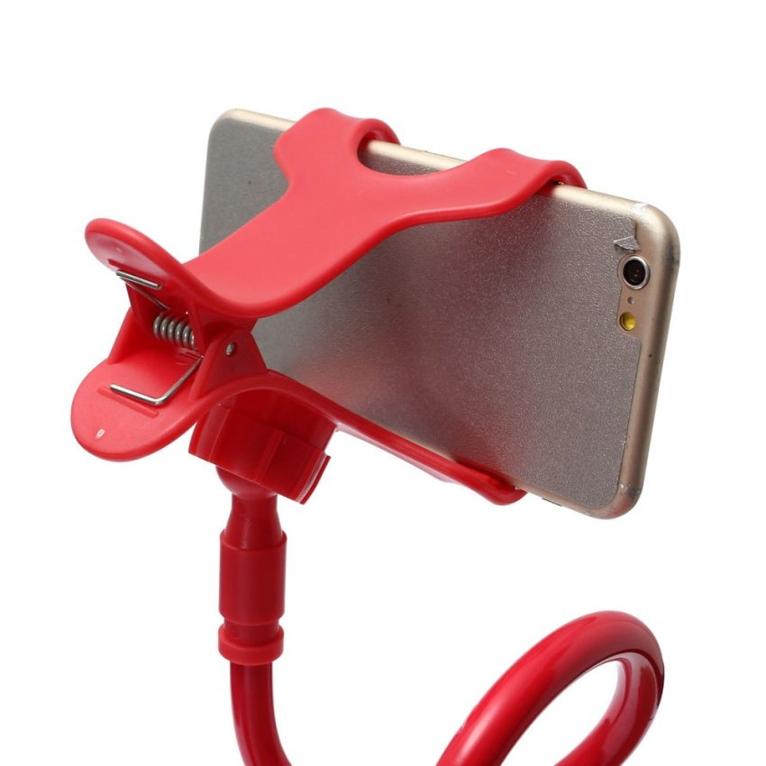 Telescopic Plastic Clamp Holder Cradle Stand Mount For Mobile Phone Tablet (Red) (Intl)