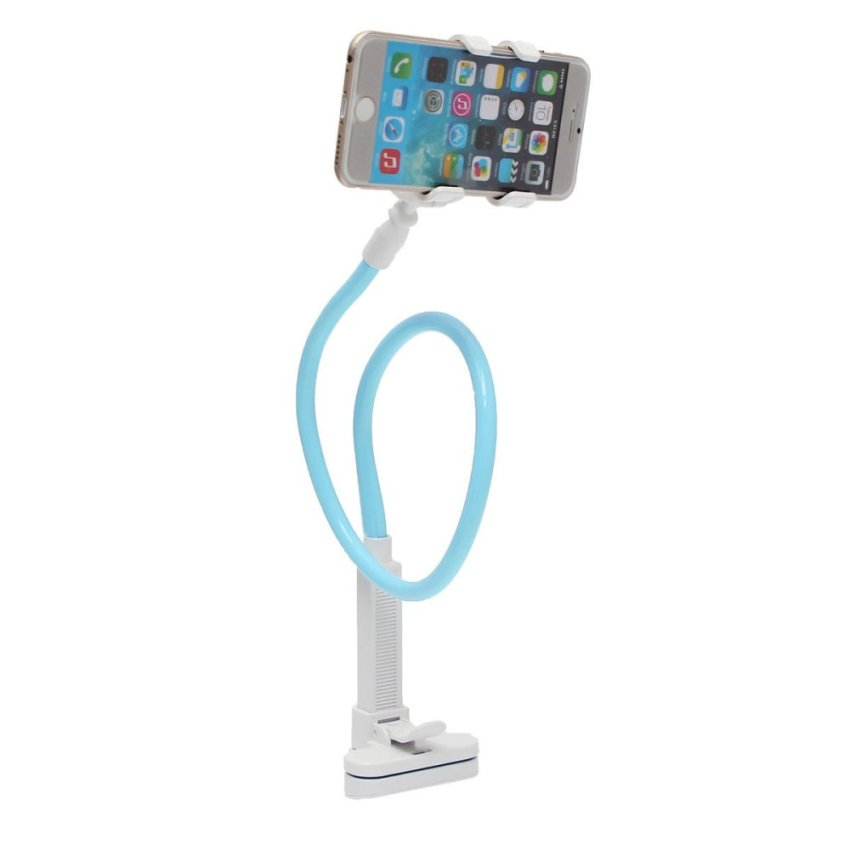 Telescopic Plastic Clamp Holder Cradle Stand Mount For Mobile Smart Phone Tablet Blue