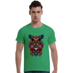 The Beijing Opera People Face Cotton Soft Men Short T-Shirt (Olive) - Intl