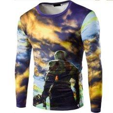 The Digital Printing Men's Casual Long-sleeved T-shirt Slim Bottoming Shirt 3D Printing T-shirts (Yellow) - Intl