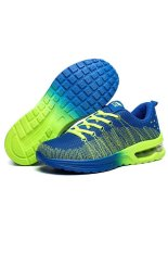 The New Sports Men's Shoes Air Cushion Fly Line Network Shoes Rainbow Weaving Nets Cloth Shoes (Blue) (Intl)