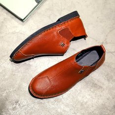 The New Trend Of Casual Shoes Men Black And White Low Shoes Korean Breathable Shoes (Orange) - Intl