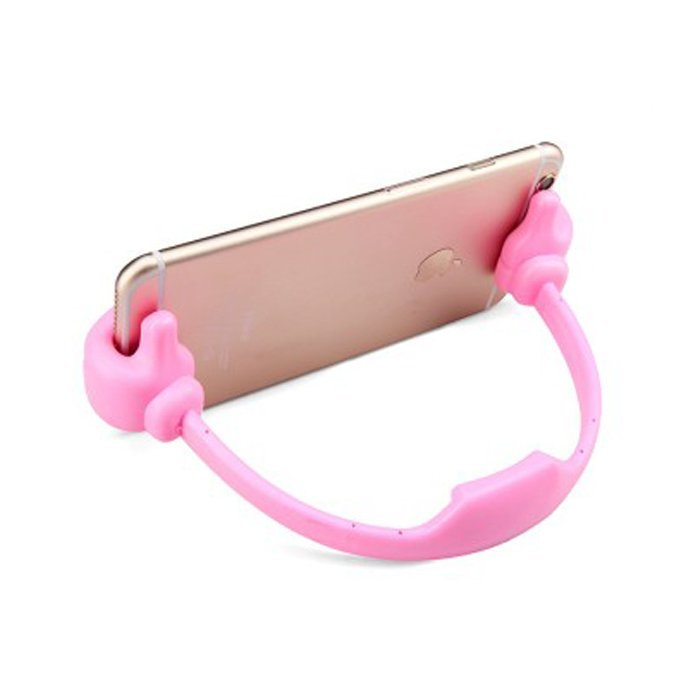 Thumb Phone Desktop Holder Stand Bracket For all smartphone(Pink) (Intl)