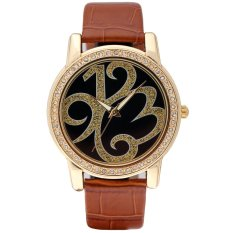 Time100 Ladies Creative Personalized Diamond Black Brown Strap Gold Dial Watch W80013L.02A - Intl