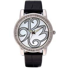 Time100 Ladies Creative Personalized Diamond Black Leather Strap Silver Dial Watch W80013L.01A