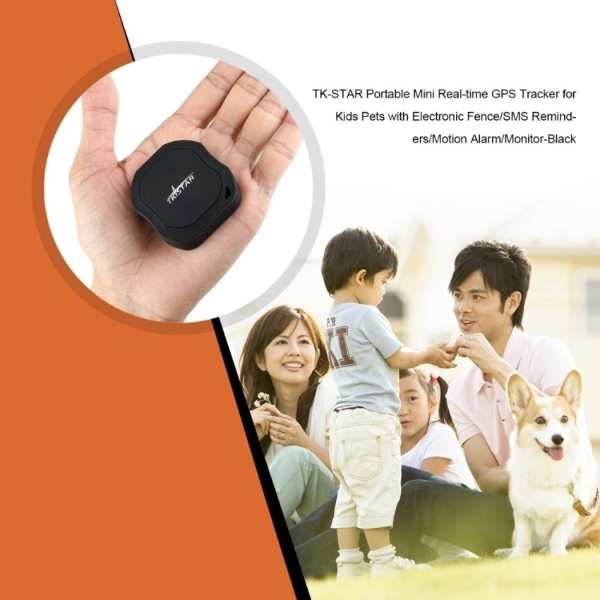 TK-STAR Mini Real-time GPS Tracker for Kids / Pets w/ Electronic Fence/SMS Reminders/Motion Alarm/Monitor - Black (Intl)