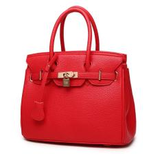 Top-Handle Bags Tote Shoulder Bags Woman HandBag Designer Shoulder Bag Girl Faux PU Leather Handbag (Red)
