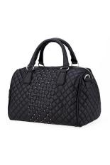 Toprank Casual Handbag New Women Handbag Geometric Tote Faux Leather Shoulder Crossbody Bag (Black)