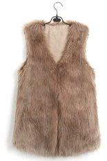 Toprank Chic Lady Faux Fur Vest Winter Warm Coat Outwear Long Hair Sleeveless Jacket Waistcoat