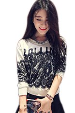 Toprank Lace Patchwork Causal Women Sweatshirts Tracksuits Sports Suit O-Neck Long Sleeve Pullovers (White)