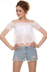 Toprank Ladies Women Casual Sexy Hollow Out Short Sleeve Slash Neck Lace T-Shirt Crop Top (Intl)
