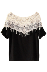 Toprank Summer Sweet Lace Hollow Out T-Shirts Women's Handmade Crochet Cape Collar Batwing Sleeve Tops Lady'S Tee (Black)