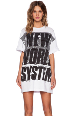Toprank Test Style Boyfriend'S Shirt Style Women Dress Summer Casual Loose O-Neck Letter Print Dress Plus Size Free Ship S- (White)