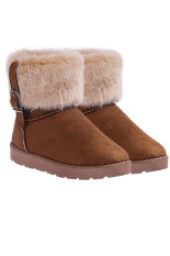 Toprank Winter Warm Thickened Fur Women Flat Short Ankle Snow Boots Winter Footwear Boot Shoes ( Brown )