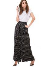 Toprank Women Loose Long Culottes Dot Printed Pants Wide Leg Pants Trouser High Waist Women Pants (Black)