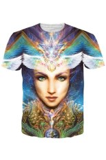 TOSHOON RED 2016 Men Unisex Summer 3D Beautiful Women Printed Short Sleeve T-Shirt (Multicolor) (Intl)