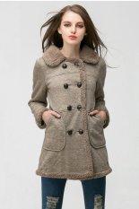 TOSHOON RED Womens Autumn Long Sleeve Wool Collar Fleece Double-Breasted Coat Jacket (Grey)