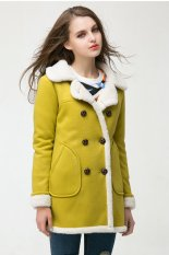 TOSHOON RED Womens Autumn Long Sleeve Wool Collar Fleece Double-Breasted Thick Coat (Green)