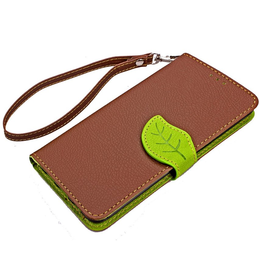 TPU Flip Leather Wallet Cover with Card Slot Holder for Samsung Galaxy S6 Edge Plus (Brown) (Intl)