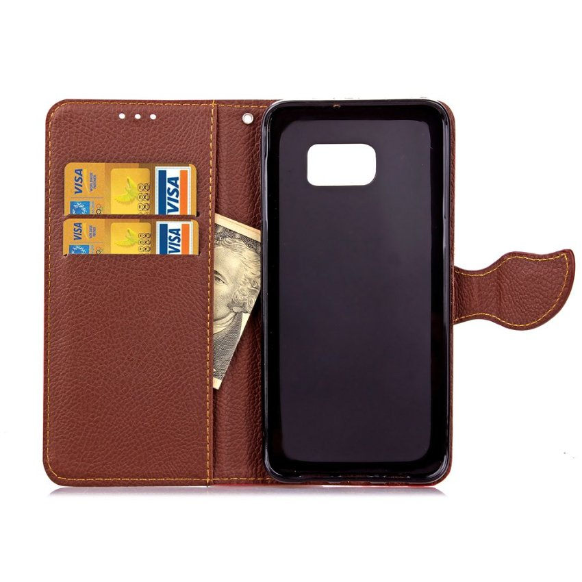 TPU Flip Leather Wallet Cover with Card Slot Holder for Samsung Galaxy S6 Edge Plus (Green) (Intl)