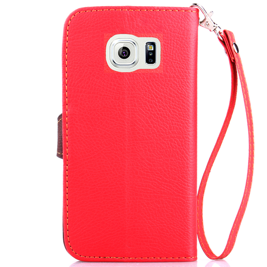 TPU Flip Leather Wallet Cover with Card Slot Holder for Samsung Galaxy S6 (Orange) (Intl)